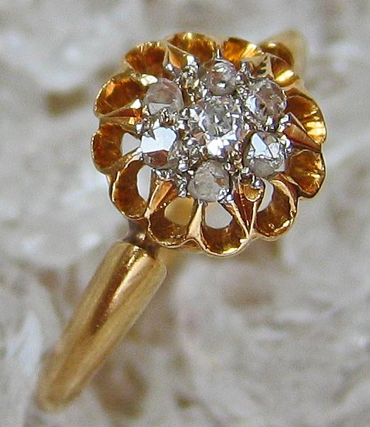 Diamantringe 18kt 750 Gold Ring Antik Altschliff Diamant Ring