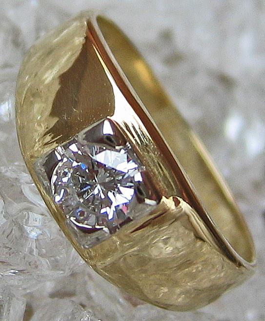 Goldringe Brillant Schmuck Solitär Halbkaräter 14kt 585 Gold Ring